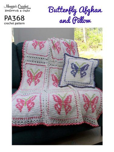 Crochet Pattern Butterfly Afghan and Pillow PA368-R | crochet ...