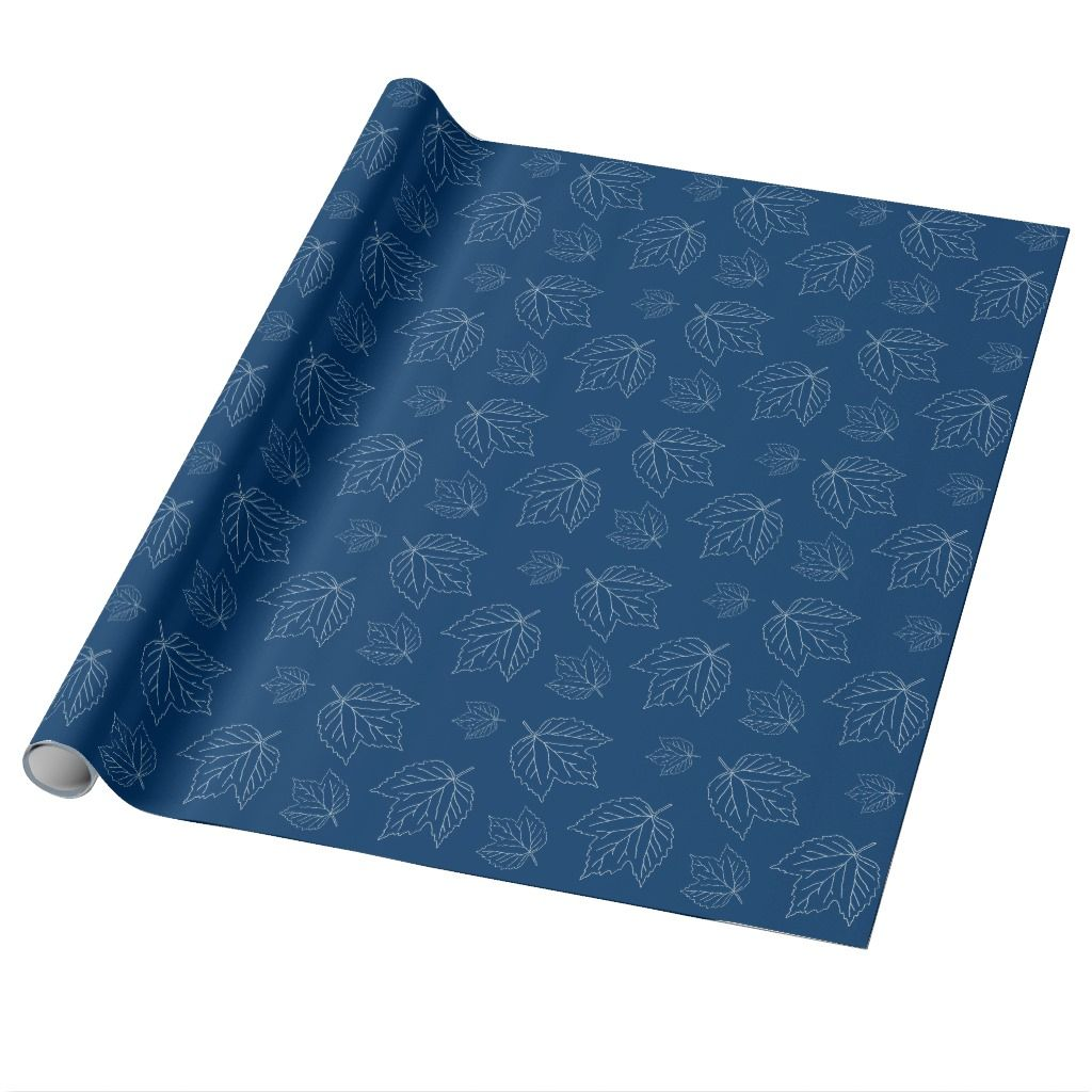 Navy Blue Leaf Pattern Roll Of Wrapping Paper Blue Leaves