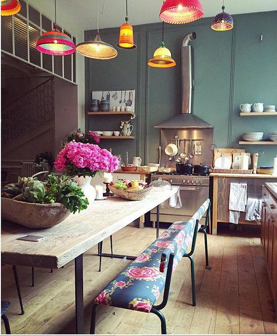 Table ancienne en orme brut Little Paris | Esszimmer, Küche ...
