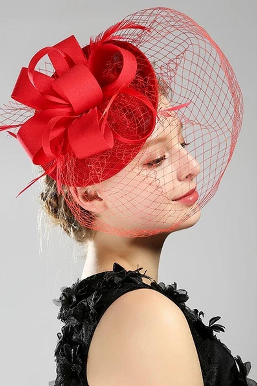 Women Beige Lace Sinamay Fascinator Veil Hat Cocktail
