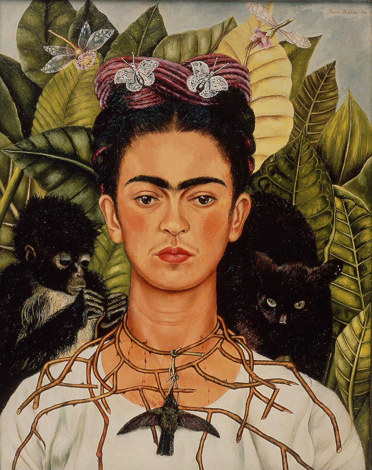 Self Portrait With Thorn Necklace And Hummingbird By Frida