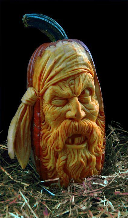 Creative pumpkin art by Ray Villafane (I have such an artist crush on Ray Villafane.)