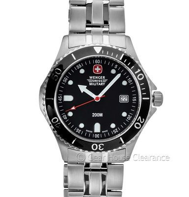 7df42090b8d Wenger Swiss Military Alpine Diver Mens Watch NEW 660ft Black Dial ...