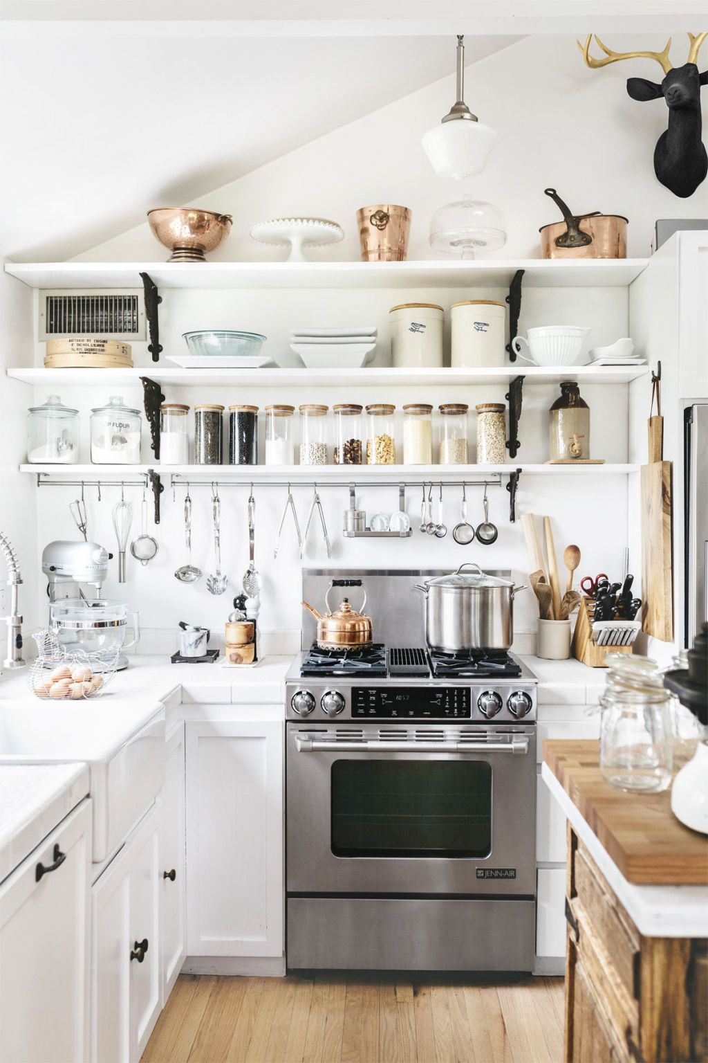 ideas for decorating a kitchen with white open shelving