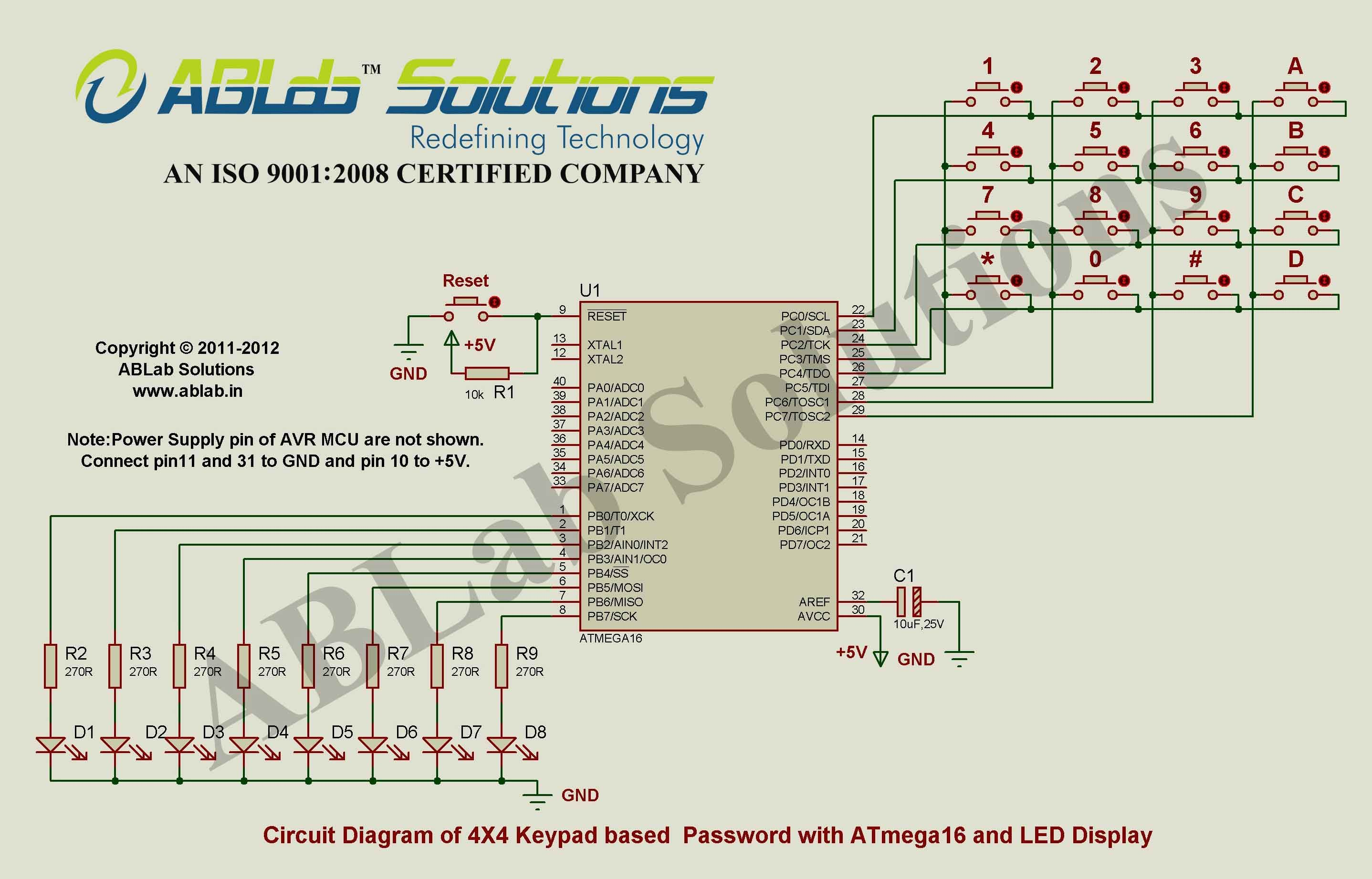 hight resolution of x4 keypad based password with avr atmega16 microcontroller and led display circuit diagram ablab solutions