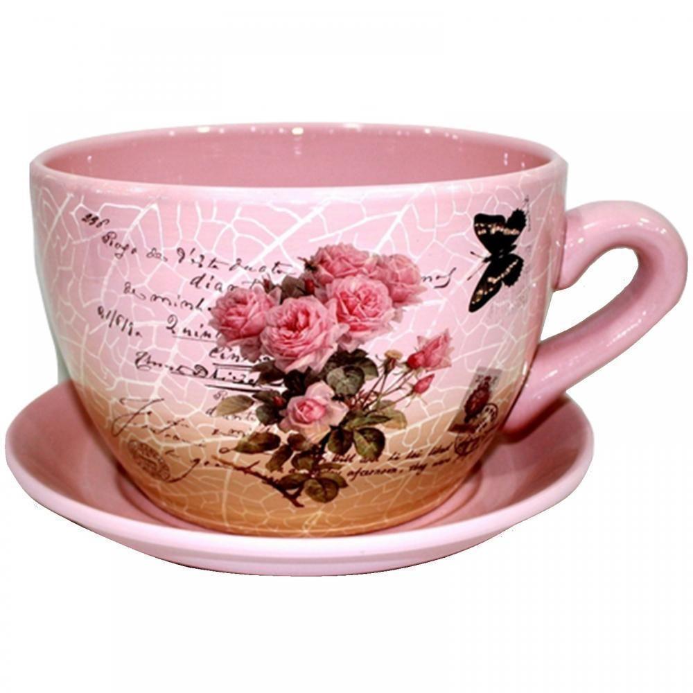 Tea Cup And Saucer Planter Pink Roses Script Giant Flowers Plant Pot Tub Decor 3808894495110 Ebay Tea Cups Tea Cup Planter Giant Flowers