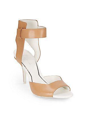 Brown Two-Tone, Tan Textured Leather Sandals @ Saks 5th Avenue $130