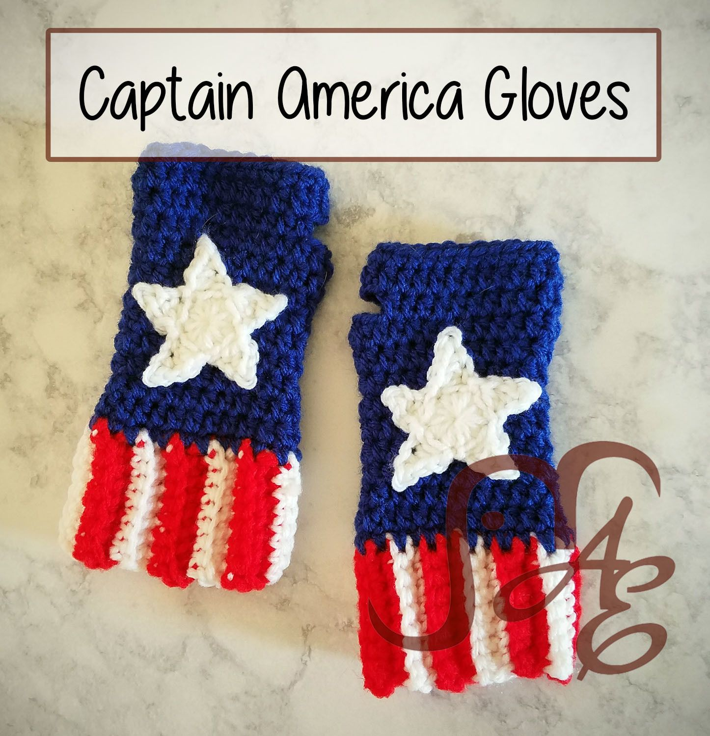 Free Crochet Pattern: Captain America Fingerless Gloves for Kids ...