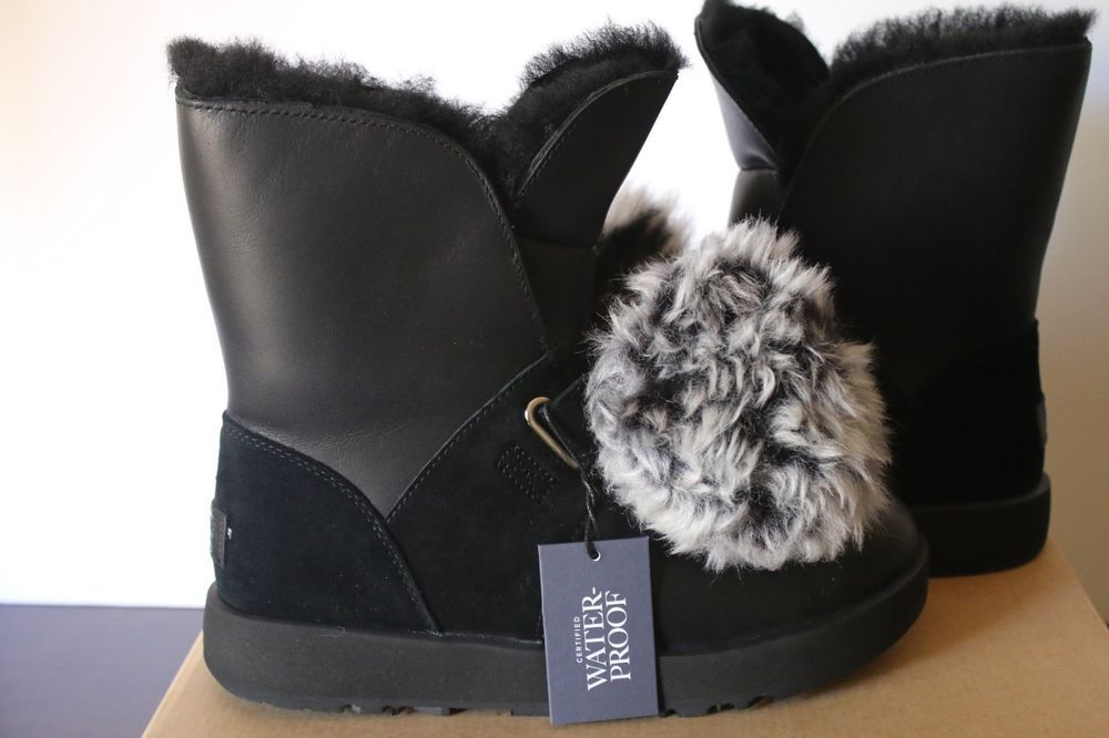 4b52ed4b77f Details about UGG Isley Waterproof BLACK Boots Pom Pom Leather ...