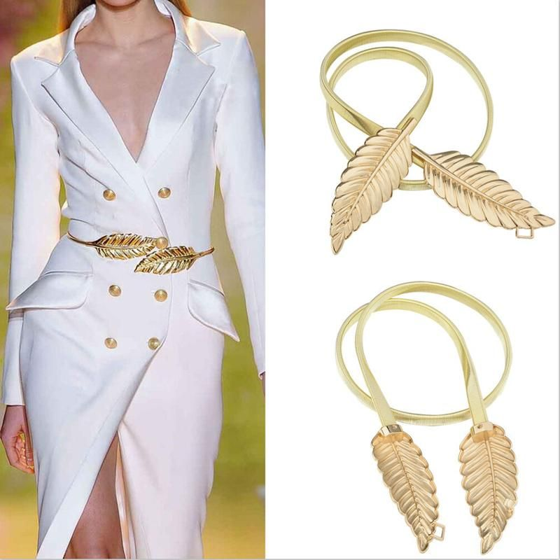 new leaf gold metal belt fashion dress waist elastic
