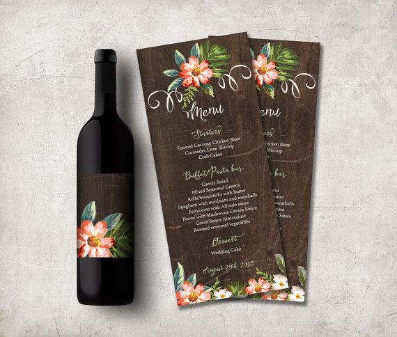 Diy Wedding Food Menu Ideas: Wedding Menu Printable, Rustic Wedding Menu Cards. DIY