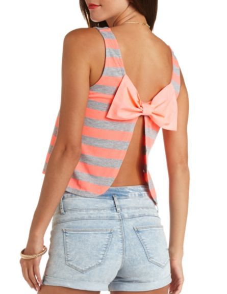 Bow-Back Striped Tank Top: Charlotte Russe