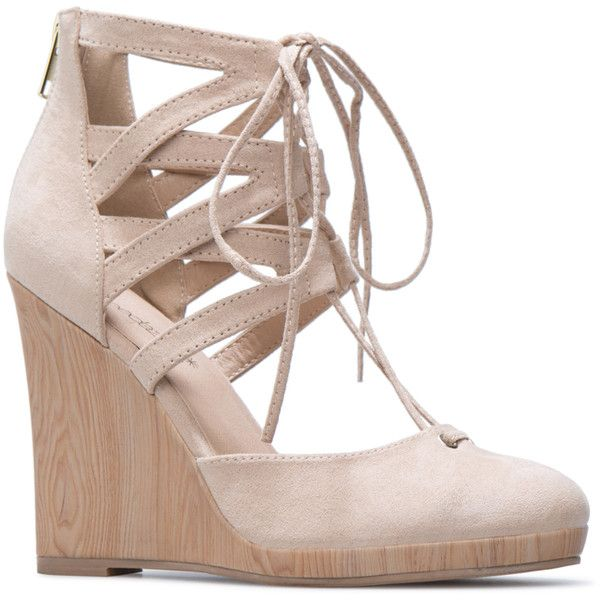 ShoeDazzle Wedge Shawnna Womens Beige ❤ liked on Polyvore featuring shoes, wedges, beige, wedge heel shoes, wedges shoes, dressy wedge shoes, fancy shoes and beige shoes