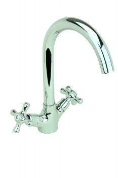 Kitchen Faucet Chrome Cane Neck Single Hole Swivel 2 Handles