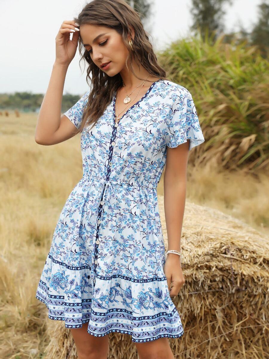 Button Front Ruffle Hem Floral Tribal Dress Shein Usa Tribal Dress Dresses Sixties Fashion [ 1198 x 900 Pixel ]