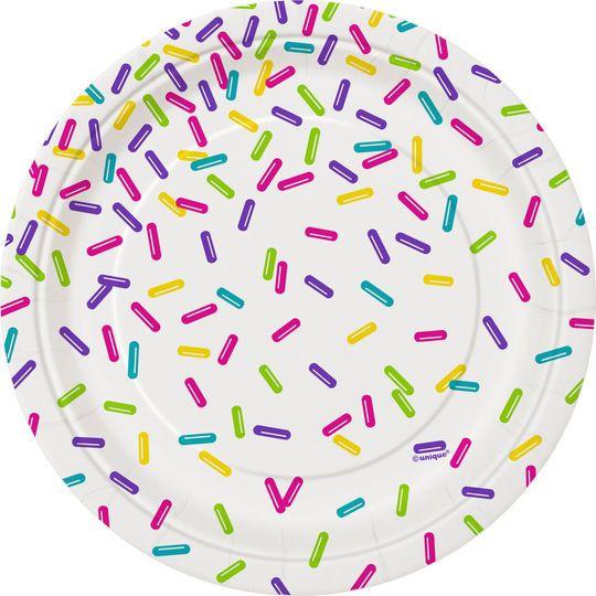 Rainbow Sprinkles Dessert Plates, 8ct