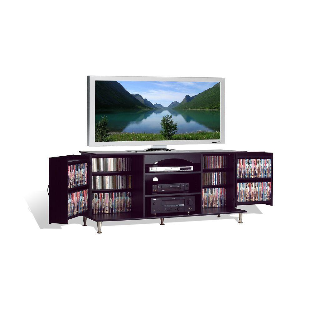Meuble grand format de luxe pour téléviseur à écran plat plasma ou ACL, avec étagères de rangement, noir