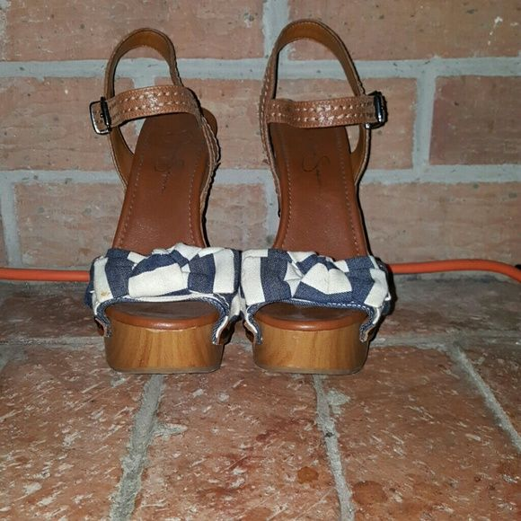 Jessica Simpson Jessica Simpson heels worn three times. Navy and cream bow with chunky heels. Great condition. Jessica Simpson Shoes Heels