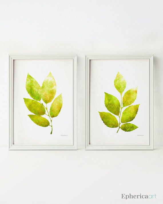 Lime green leaves wall decor 5x7 • These beautiful images can be printed right away at home or local/online print shops for a professional finish! Find more DIY prints >>  Ephericaart.etsy.com