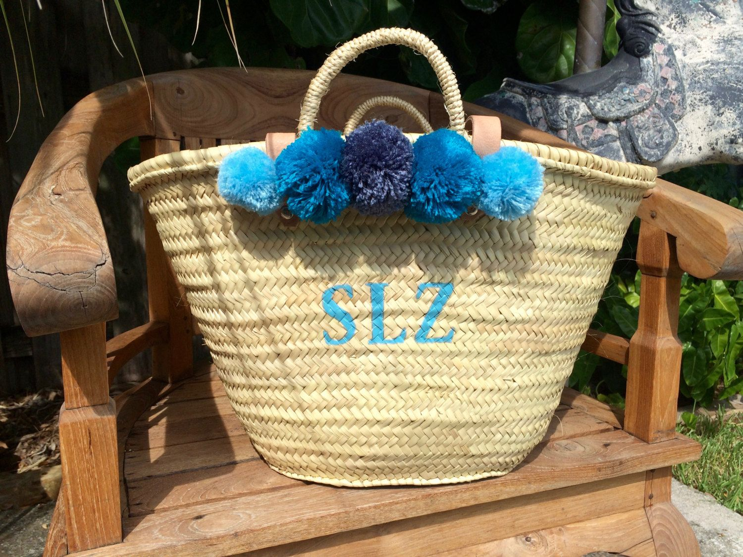 monogrammed bag, customized straw beach bag with leather handles ...