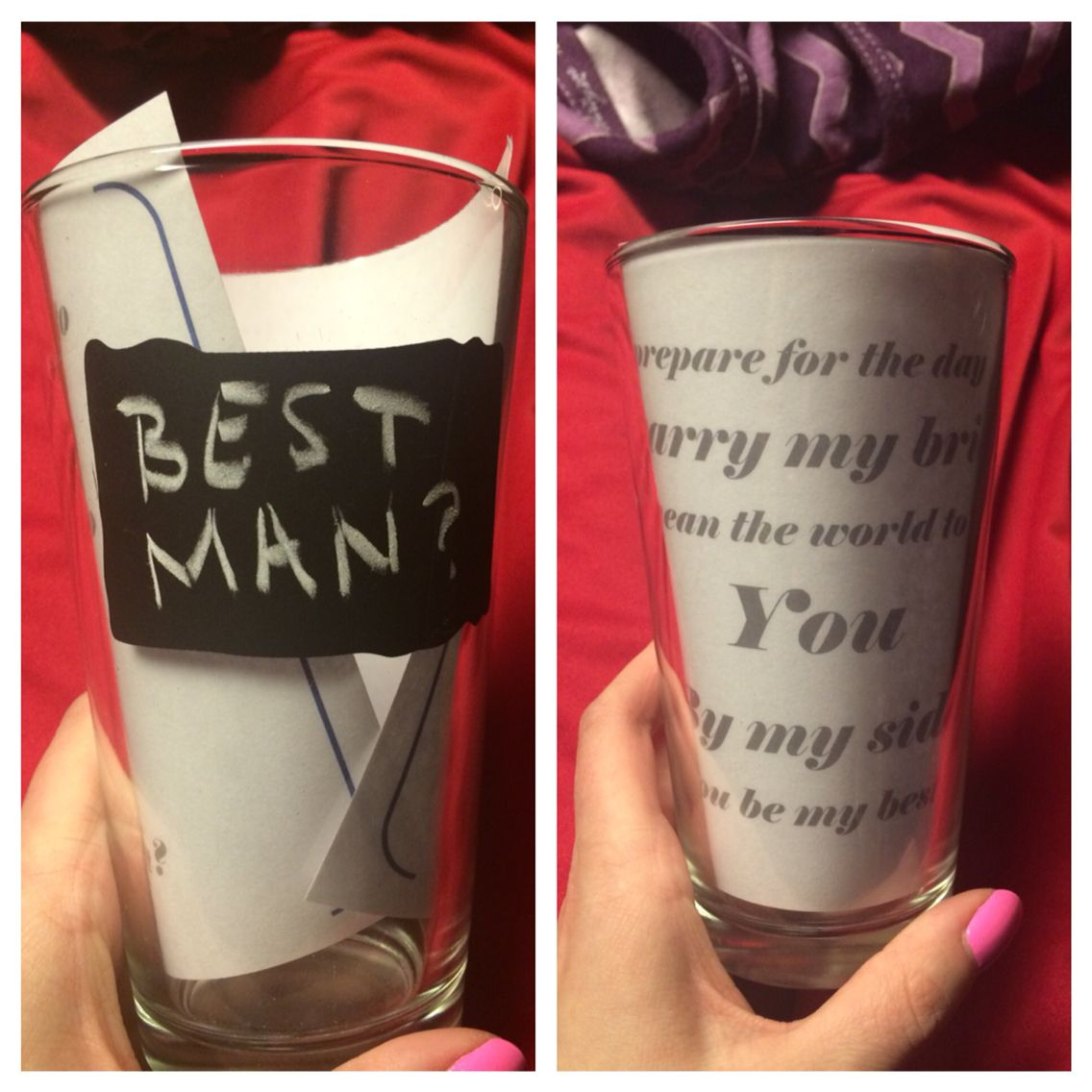 Will you be my best man? Chalkboard beer glass with paper inside ...