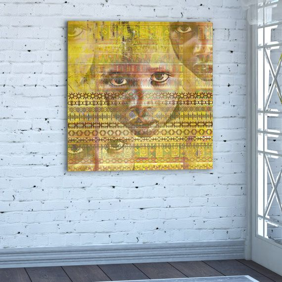 Africa canvas print Africa painting Africa Square African Yellow ...