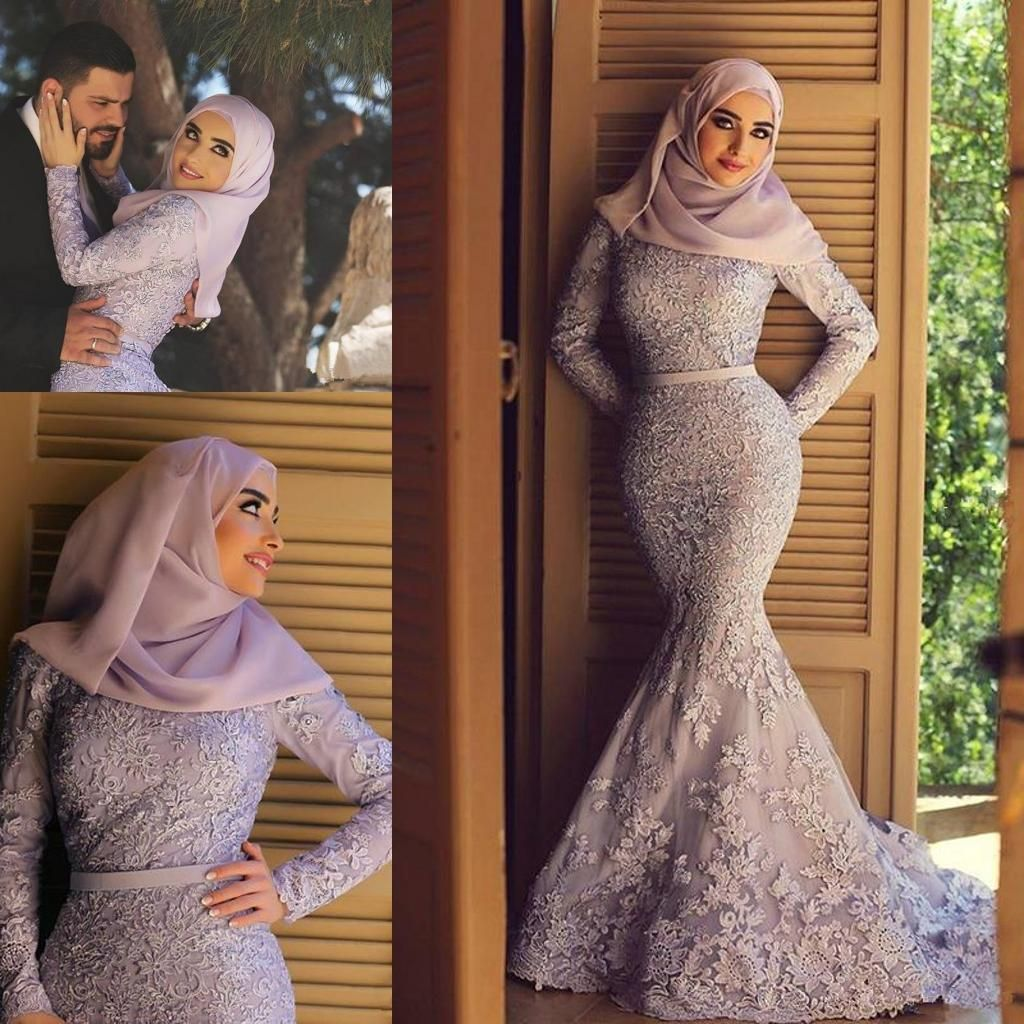 Awesome great new muslim mermaid appliques wedding dresses long