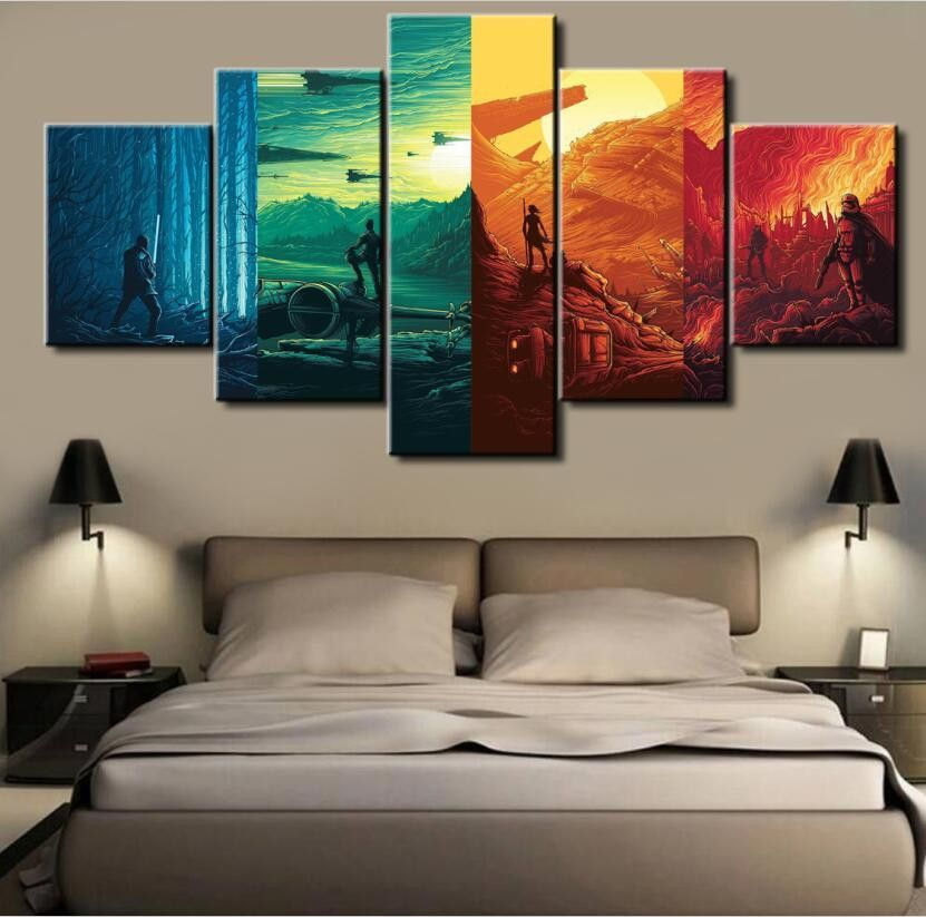 Hd Print Many Styles 5 Pieces One Set Figure Bedroom Painting Wall Delectable Living Room Paintings Design Decoration