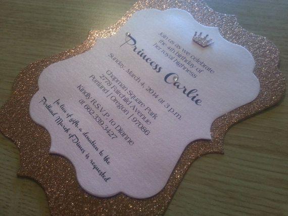 Sparkling Crown Princess Invitation By Theinspirednote On Etsy Diy 1st Birthday