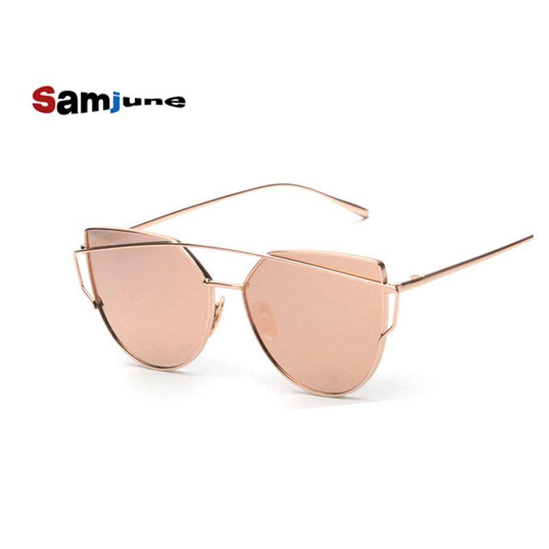 e9b17f66876c99 Samjune Katzenaugen-sonnenbrille Frauen Vintage-Mode Metallrahmen Spiegel  Sonnenbrille Flache sonnenbrille Damen Sonnenbrille UV400