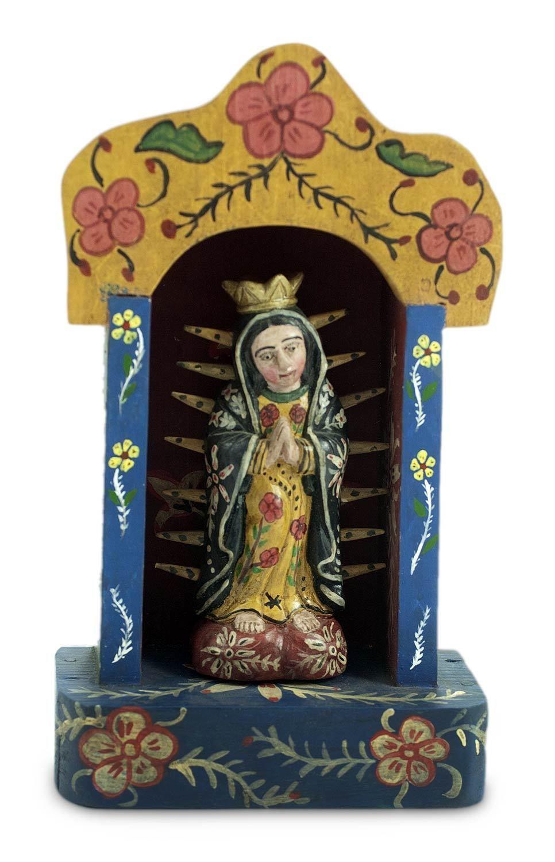 Wood Sculpture Folk Art 'Shrine to Our Lady of Guadalupe' Novica Guatemala | eBay
