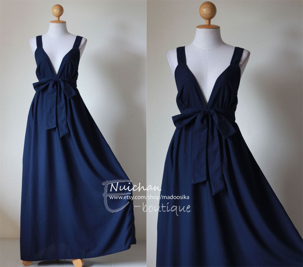 Navy blue maxi dress elegant vstyled neck long bridesmaid dress
