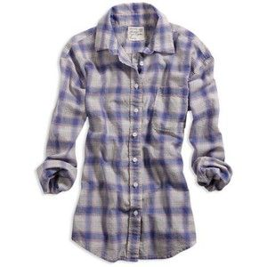 AE Women's Plaid Boyfriend Shirt (Blue Combo) | Blue Collar ...