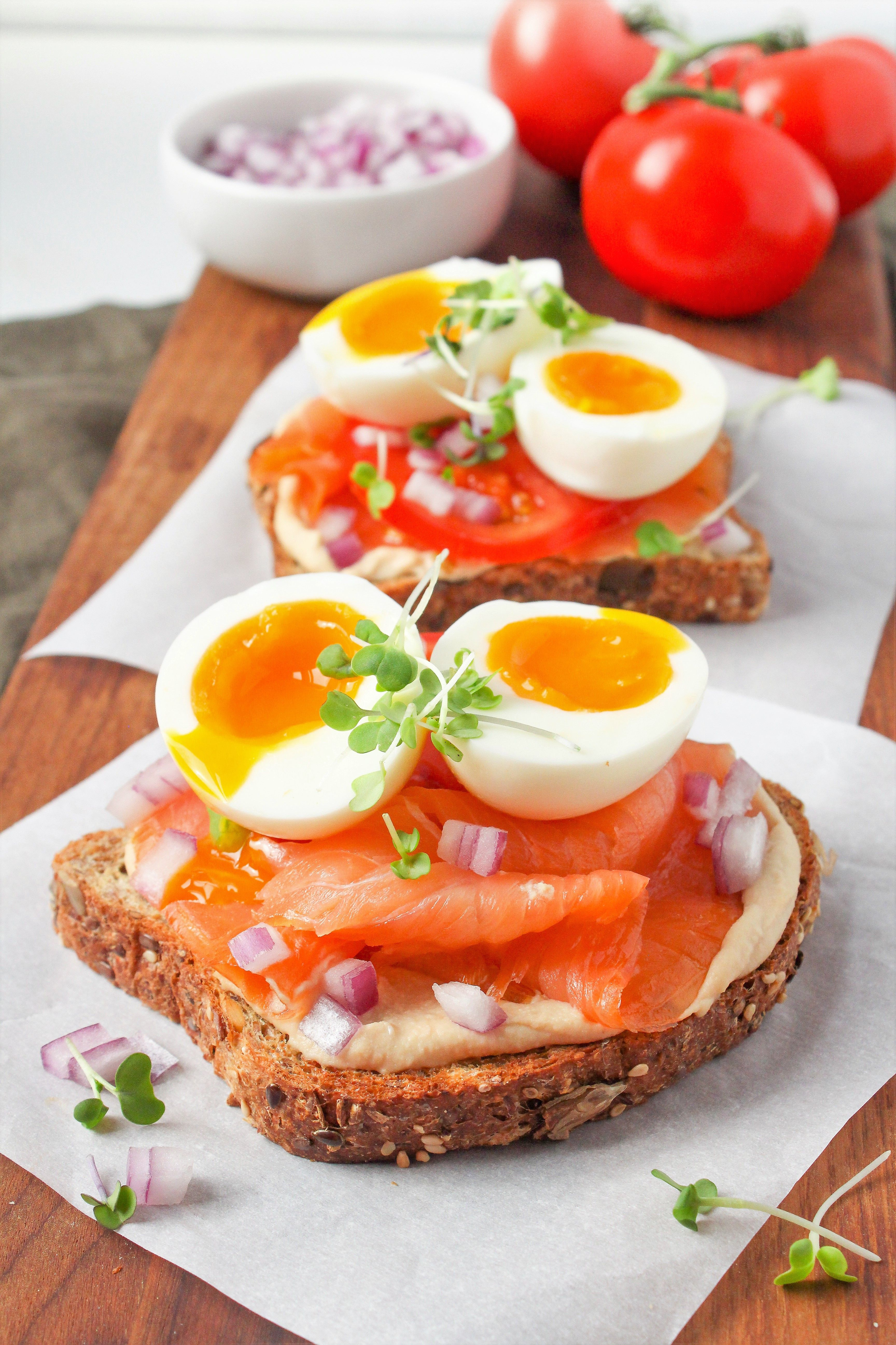 Easy Hummus Toast with Smoked Salmon and Soft Boiled Eggs images