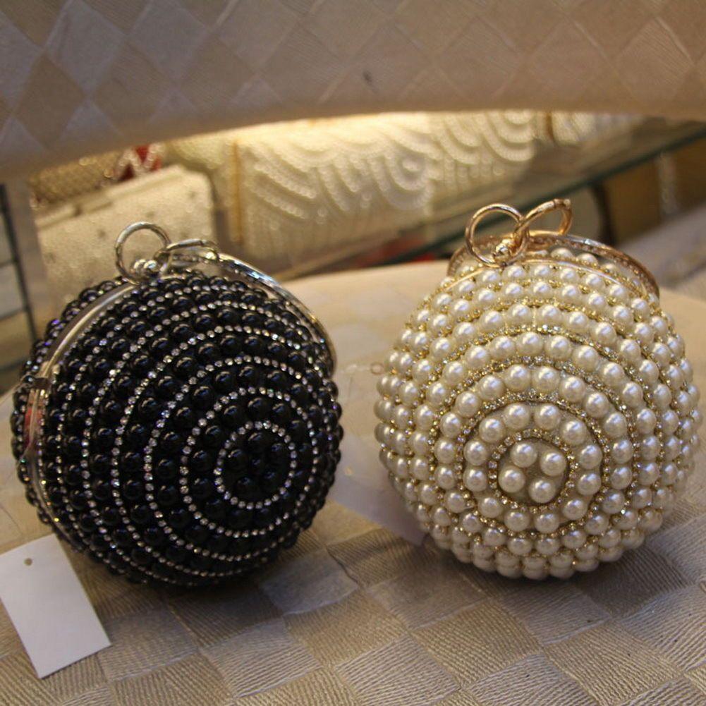 Women Bridal Crystal Pearl Ball Sphere Party Evening Clutch Bag Handbag  Purse L1 15540e42c4d8