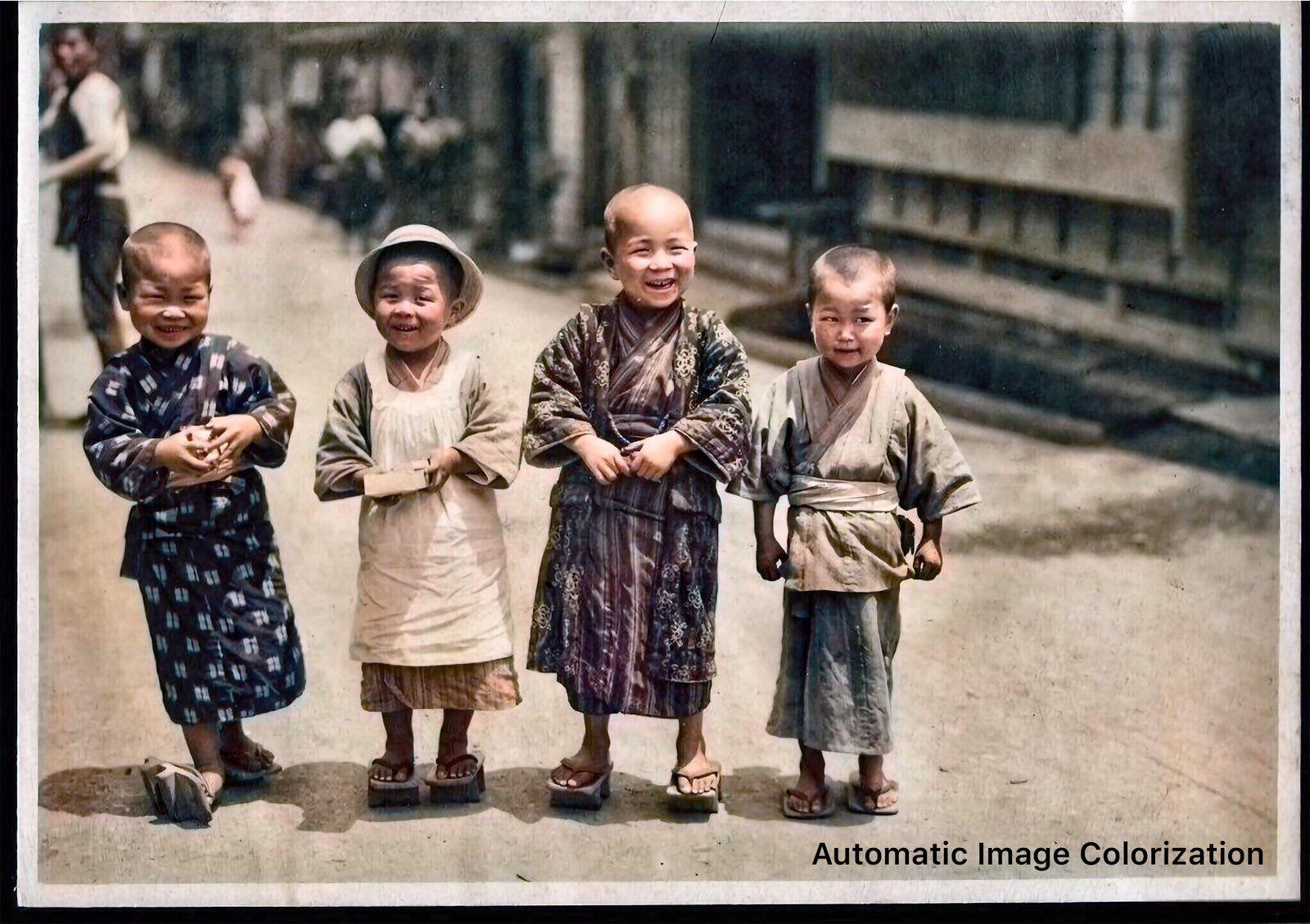 100年前の日本の子どもたち。1914〜18年に掛けてElstner Hiltonが撮影した写真。
