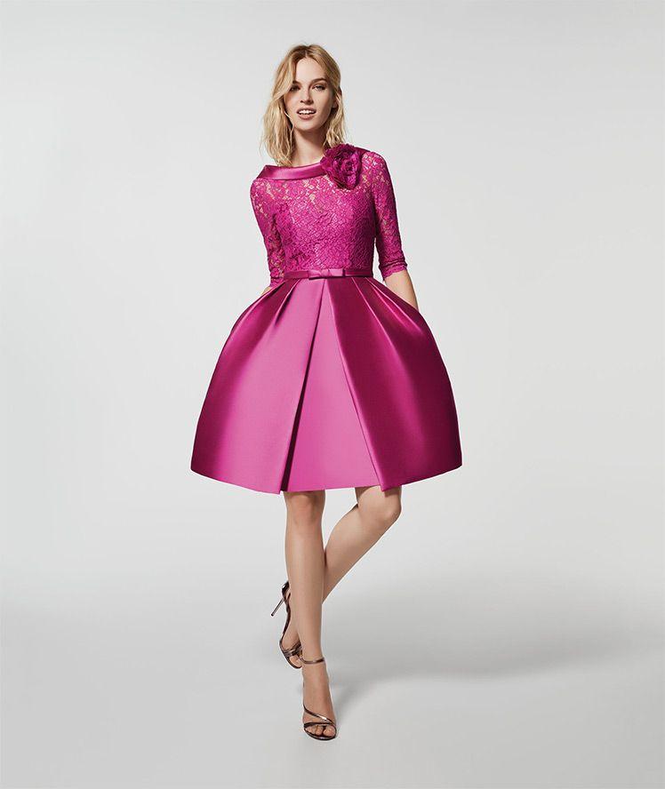 Vestido de fiesta rosa - Vestido corto GLACE - manga tres cuartos ...
