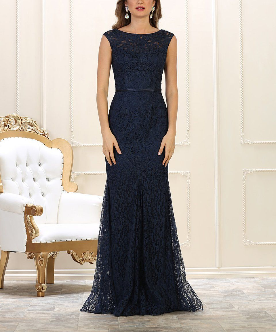 Love this mayqueen navy lace boatneck gown plus too by mayqueen
