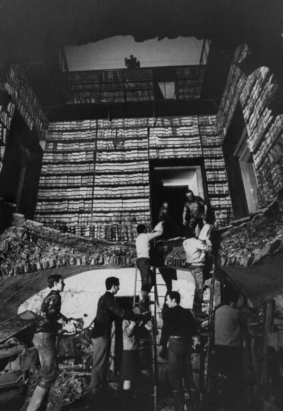 Volunteers gathering flood-damaged books in Italian State Archives in Uffizi Museum. Florence, Italy, 1966.