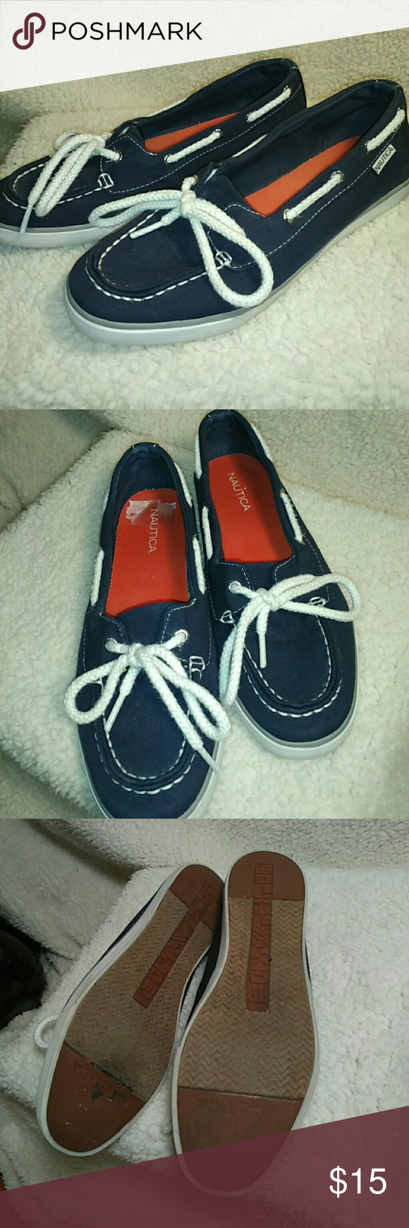 Nautica Boat Shoes Extremely comfortable shoes with excellent padding. They easily slip on and are made of very durable canvas. Looks new when worn. Nautica Shoes Flats & Loafers
