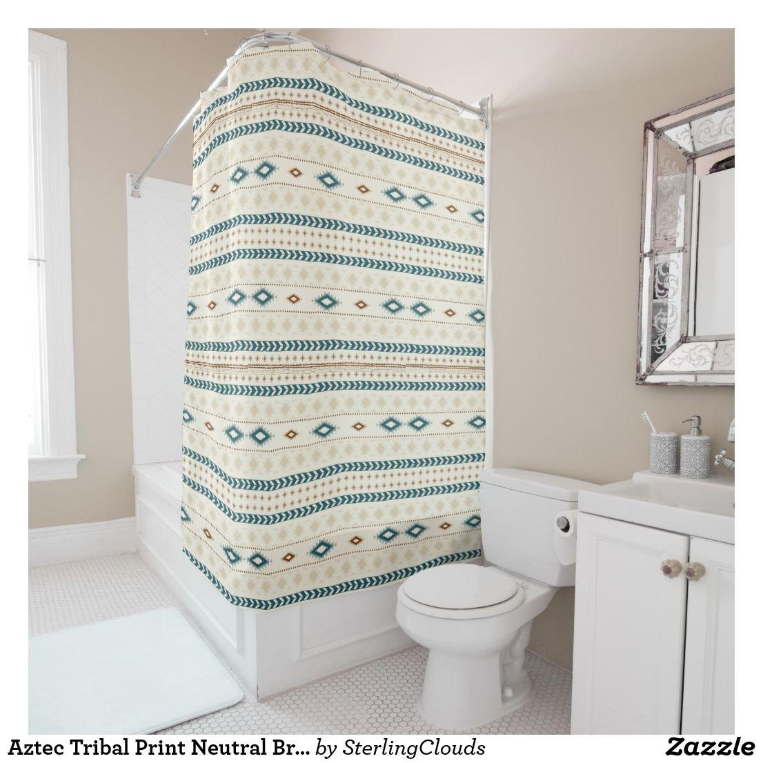 Aztec Tribal Print Neutral Browns Beige Teal Shower Curtain