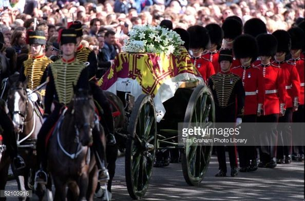 The Coffin Of Diana, Princess Of Wales Being Carried Through The Streets Of London On Its Journey To Westminster Abbey.