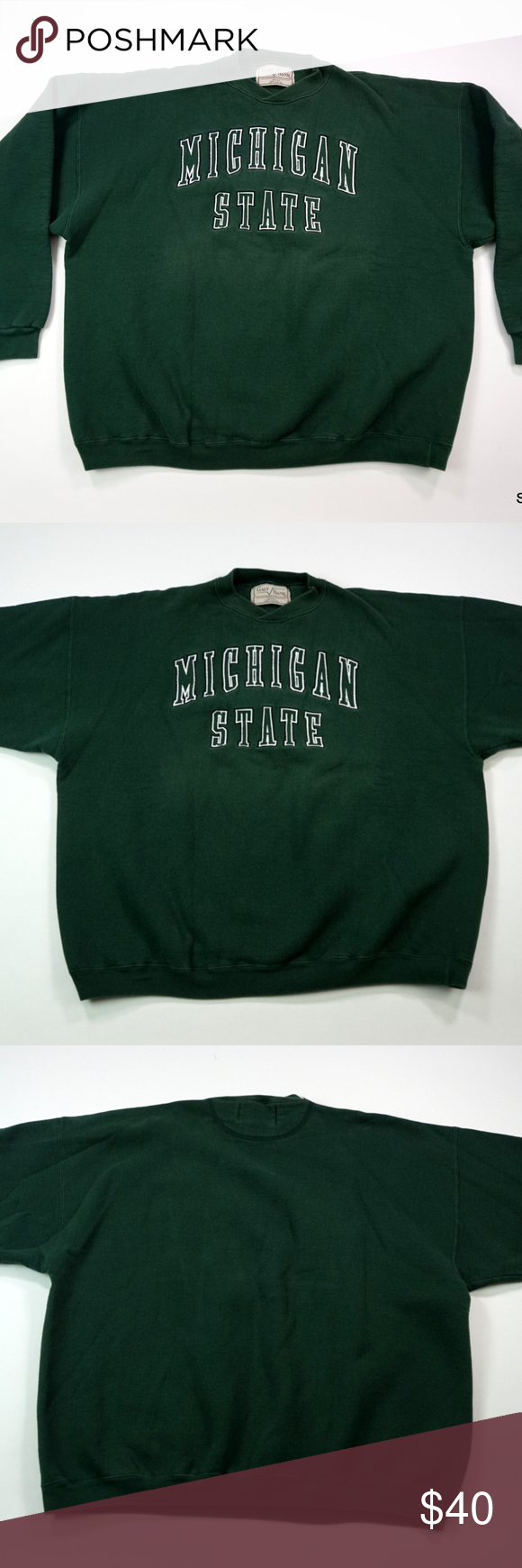 Vtg Michigan State Spartans Embroidered Sweatshirt Embroidered Sweatshirts Sweatshirts Michigan State Spartans [ 1740 x 580 Pixel ]