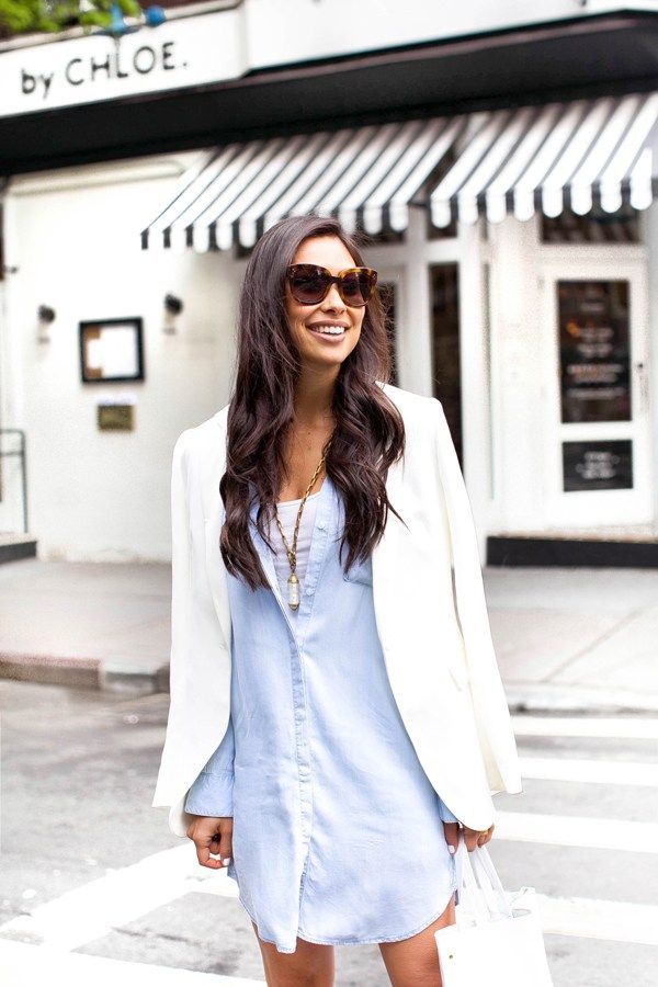 James Jeans blazer and Rails chambray dress styled by With Love from Kat.  Available now at Keaton Row.  KRInStyle 0f1be829d35f
