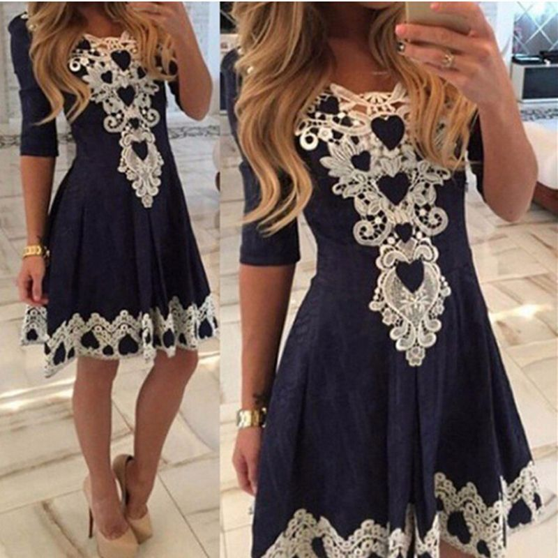 Autumn Summer Womens Evening Party Lace Dress Fall Half Sleeve Sexy Casual  Dresses Brazil Vestidos De Festa 99803841b79e