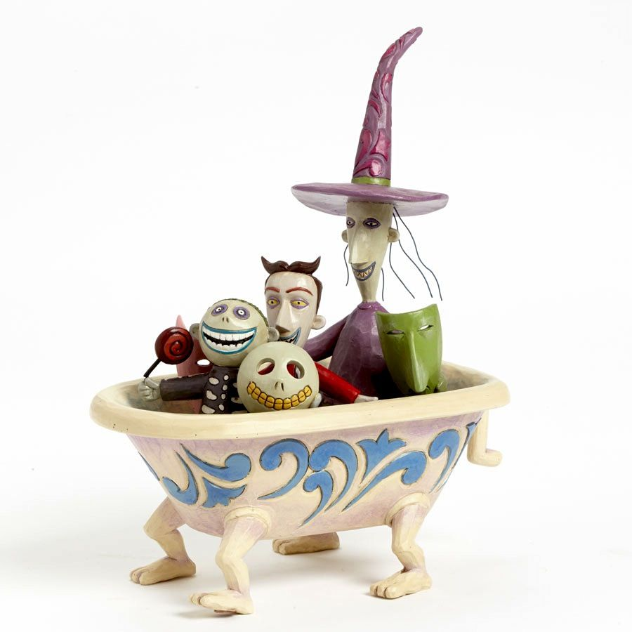 Delightful Disney Jim Shore Nightmare Before Christmas Lock Shock Barrel In Bathtub
