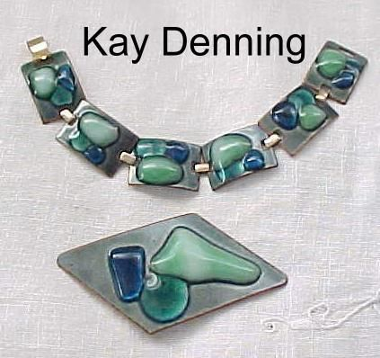 Kay Denning Fused Glass Bracelet, and  Brooch