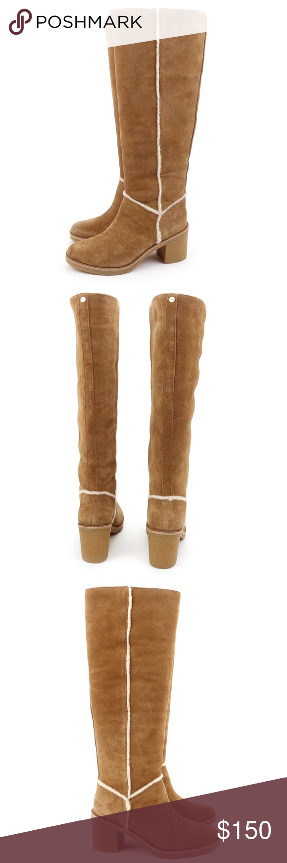 531cd4720ff UGG Kasen Tall Chestnut Sheepskin Knee High Boots A crepe-like rubber  outsole makes this