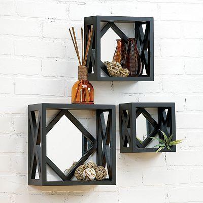 3 Pc Mirrored Cube Wall Shelf Set Cube Wall Shelf Home Decor Cube Shelves