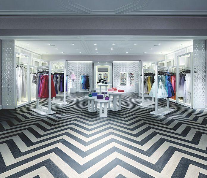striking zig zag flooring made using expona design white oak and black elm from polyflor